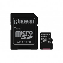 Kingston Technology Memory Card 64 GB Micro SDXC Class 10 UHS-I Card con Adattatore a Micro SD SDC10G2/64GB - Kingston Technology - SDC10G2/64GB