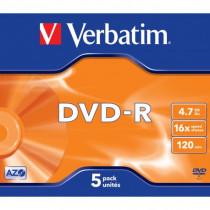 Verbatim Confezione 5 DVD-R Matt Silver 4,7 GB 16x Jewel VB-DMR47JCA 43519 - Verbatim - 43519